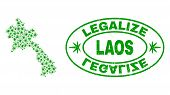 Vector Cannabis Laos Map Mosaic And Grunge Textured Legalize Stamp Seal. Concept With Green Weed Lea poster