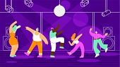 Disco Party Or Dancing Marathon In Night Club Flat Vector Concept With Dancing And Having Fun On Dan poster