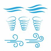 Wind Icons Nature, Wave Flowing, Cool Weather, Climate And Motion - Vector poster