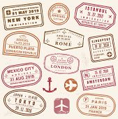 Passport Stamp Set - Novelty Vector Passport Stamps Collection. poster