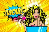 Beautiful Blonde Sexy Young Girl Wow Face Pop Art Style Vector Illustration. Emotion Surprise Super  poster