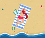 Summertime. Aerial Top View Of Young Woman Lying On Sandy Beach. Slippers, Mat, Bag And Foot Prints. poster