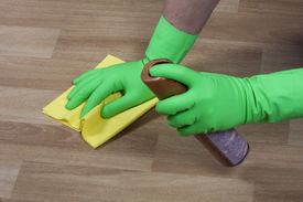 stock photo of house cleaning  - cleaning equipment and wooden parquet polishing cleaner - JPG