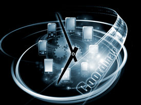 foto of telecommunications equipment  - Rendering of cellular phones clocks and abstract design elements on the subject of phone technology cellular communication project coordination and modern electronic gadgets - JPG