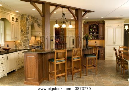 picture or photo of beautiful new high end kitchen with