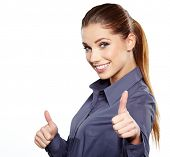 picture of seduce  - Happy smiling business woman with ok hand sign - JPG