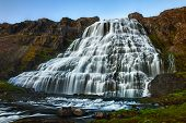 foto of fjord  - Dynjandi is the most famous waterfall of the West Fjords and one of the most beautiful waterfalls in the whole Iceland - JPG