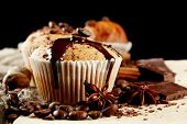 foto of chocolate muffin  - tasty muffin cakes with chocolate - JPG