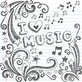 stock photo of tween  - I Love Music Back to School Sketchy Notebook Doodles with Music Notes and Swirls - JPG