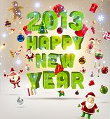 picture of holly  - 2013 Happy New Year 3d vector letters for Christmas invitation - JPG