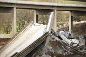 image of gusset  - Interstate 5 bridge near Roseburg after it was demolished to make way for new bridge - JPG