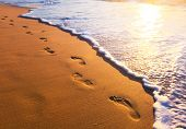 stock photo of footprints sand  - beach - JPG