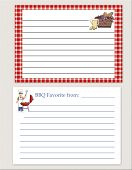 picture of recipe card  - Lined recipe cards with cooking theme with summer holiday icons - JPG