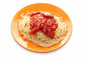 Spaghetti And Meat With Ketchup In Orange Plate poster