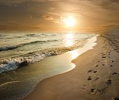stock photo of shoreline  - golden sunset on the sea shore and footprints in the sand - JPG