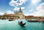 picture of gondola  - Grand Canal and Basilica Santa Maria della Salute - JPG