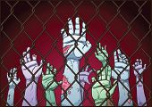 picture of scabs  - Creepy zombie hands behind a fence - JPG