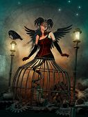 picture of chokers  - 3d computer graphics of a woman with a fantasy cage skirt dark wings and a feathered headdress - JPG