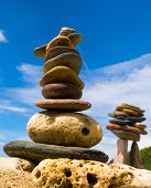 stock photo of fulcrum  - Zen Pebbles Simplicity in Inspiration - JPG