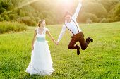 foto of happy day  - Happy couple on wedding day - JPG