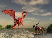 stock photo of winged-horse  - Knight about to fight with a dragon - JPG