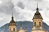 picture of bolivar  - Cathedral of Bogota with Monserrate church in background - JPG