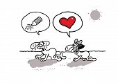 stock photo of lost love  - Humorous vector cartoon about Valentine - JPG