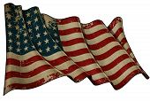 image of iwo  - Illustration of an aged waving US 48 star flag of the period 1912 - JPG