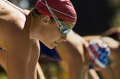 picture of watersports  - Closeup side view of female swimmers at the starting blocks - JPG