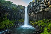 stock photo of scandinavian  - Panorama of Svartifoss Black Waterfall Iceland Northern Europe - JPG