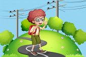 picture of post-teen  - Illustration of a young boy walking at the street with electric posts nearby - JPG