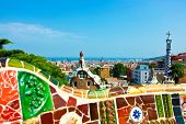 BARCELONA, SPAIN - JULY 19: Ceramic mosaic Park Guell on July 19, 2013 in Barcelona, Spain. Park Gue