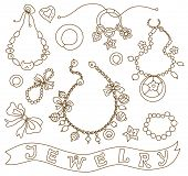 collection of women's jewelry (coloring book)