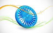 stock photo of ashok  - illustration of wave of Indian flag tricolor with Ashok Chakra - JPG