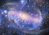 picture of outer  - Stars and spiral galaxy in a free space - JPG