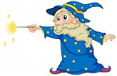 image of wizard  - Illustration of a wizard holding a magic wand on a white background - JPG