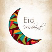 foto of eid card  - Beautiful illustration for Muslim community festival Eid Mubarak with hanging moon and stars - JPG