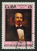 CUBA - CIRCA 1974:A stamp printed in Cuba shows image of the Carlos Manuel de Cespedes del Castillo