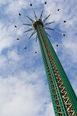 VIENNA, AUSTRIA - AUGUST 2012 : The Prater Tower (Praterturm) at Wiener Prater Amusement Park on Aug