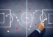 stock photo of football pitch  - Close up image of human hand drawing football tactic plan - JPG