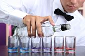stock photo of bartender  - Bartender is pouring  vodka into glasses - JPG