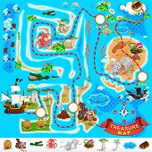 stock photo of kraken  - Various Exotic Location from Pirate Treasure Map