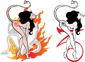Devil woman dancing striptease for tattoo design