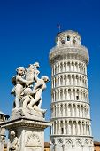 ITALY - MARCH 4: The Fountain of Angels with the Leaning Tower of Pisa in Piazza dei Miracoli in Pis