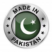 foto of pakistani  - Made in Pakistan silver badge and icon with central glossy Pakistani flag symbol and stars illustration isolated on white background - JPG