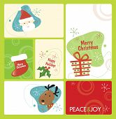 Постер, плакат: Ретро Рождество тег набор 1