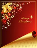 picture of merry christmas  - Vector Merry Christmas background with stars and decorations - JPG