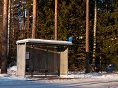 stock photo of bus-shelter  - A Bus shelter early morning in januari - JPG