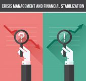 stock photo of crisis  - Flat design concept of analyzing business financial and economic crisis and growth - JPG