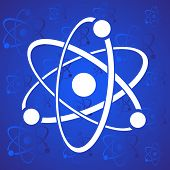 pic of proton  - White vector atom icon on blue stylized background - JPG